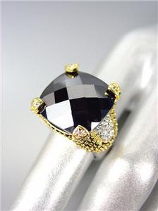 CHUNKY Designer Style Balinese Gold Dots Black Onyx CZ Crystal Ring
