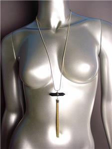 "CHIC Black Onyx Quartz Crystal Gold Tassel Pendant 34"" Long Snake Chain Necklace"