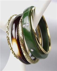 CHIC & STYLISH 5 PC Olive Resin Brass Brown Horn Bangle Bracelet
