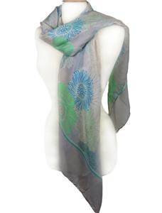 EXPRESSIVE Silky Lightweight Green Blue Floral Gray Fashion Scarf