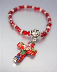 DECORATIVE Red Multi Cloisonne Enamel Cross Charm Beads Stretch Bracelet