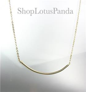 CHIC 18kt Gold Plated CURVED BAR Pendant Petite Dainty Necklace