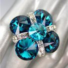 GLITZY SPARKLE Teal Blue Zircon CZECH Crystals Cocktail Ring