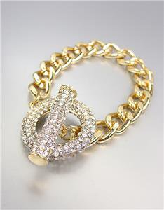 GORGEOUS GLITZY Bebe Lovely Gold Pave CZ Crystals Ring & Toggle Chain Bracelet