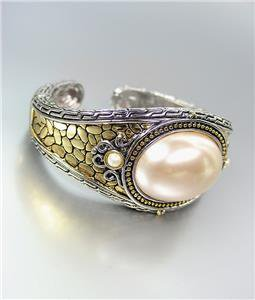 WOW Designer Style Balinese Silver Gold Texture Creme Pearl Hinge Cuff Bracelet