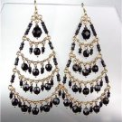 STUNNING Black Onyx Crystal Beads Gold Chandelier Dangle Peruvian Earrings 8BK