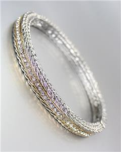 CLASSIC Thin Designer Style Silver Weave Cable Gold CZ Crystals Hinged Bracelet