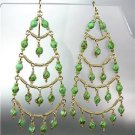 STUNNING Green Turquoise Crystal Beads Chandelier Dangle Peruvian Earrings B94