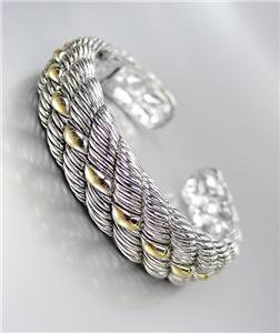 CLASSIC & ELEGANT Designer Inspired Silver Gold Accents Cable Cuff Bracelet