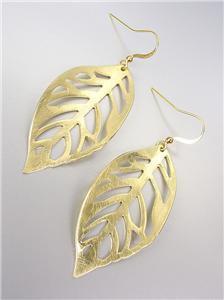 CHIC & UNIQUE Lightweight Burnished Mat Gold LEAF Dangle Earrings