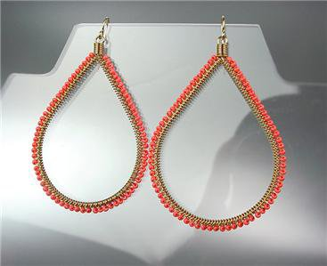 GORGEOUS EXQUISITE Coral Beads Gold Chandelier Dangle Peruvian Earrings