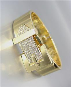 GORGEOUS Gold Metal Pave CZ Crystals BUCKLE Hinged Bangle Bracelet