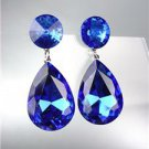 GLITZY Sapphire Blue Czech Crystals Bridal Queen Pageant Prom Earrings