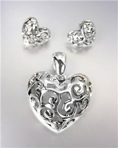CLASSIC Brighton Bay Silver Filigree Heart Pendant Enhancer Earrings Set