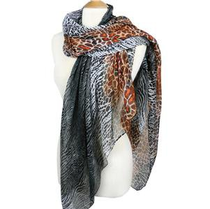 EXOTIC Lightweight Silky Black Brown Animal Print Fashion Scarf