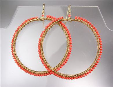 GORGEOUS EXQUISITE Coral Beads Gold Round Chandelier Dangle Peruvian Earrings