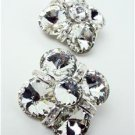 Sparkle Clear Czech Crystals Cluster Clip On Earrings