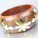 CHIC Natural Brown Wood Brass Fleur De Lis Overlay Bangle Bracelet