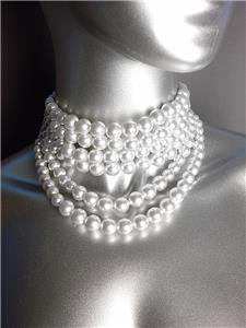 CLASSIC Graduated 6 Strands White Pearls Layered Choker Necklace Earrings Set