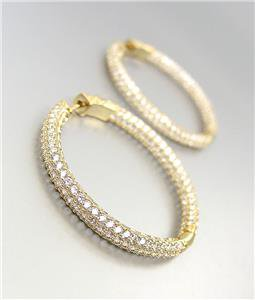 """STUNNING 18kt Gold Plated INSIDE OUTSIDE Pave CZ Crystals 1 1/4"""" Hoop Earrings"""