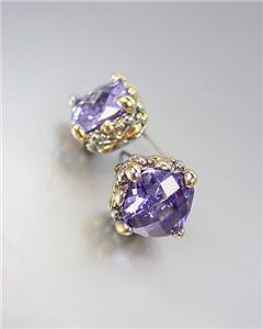 Designer PETITE Silver Gold Balinese Light Purple Amethyst CZ Crystal Earrings