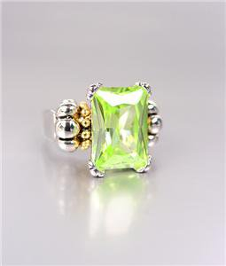 CLASSIC Silver Emerald-cut Light Green Peridot CZ Crystal Glacier Ring