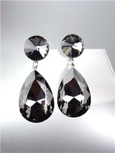 GLITZY Smoky Gray Black Czech Crystals Bridal Queen Pageant Prom Earrings