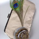 Chic Beige Satin Flower Bouquet Peacock Feather Clutch Evening Purse Bag