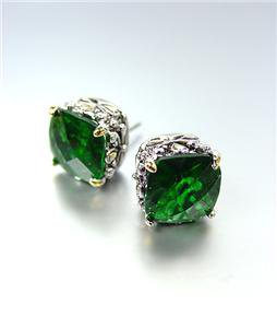 Designer PETITE Silver Gold Balinese Filigree Emerald Green CZ Crystal Earrings