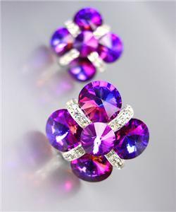 GLITZY Fuschia Purple Czech Crystals Bridal Prom Pageant Queen CLIP Earrings