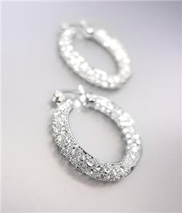 CLASSIC 18kt White Gold Plated INSIDE OUTSIDE Pave CZ Crystals 3/4 Hoop Earrings