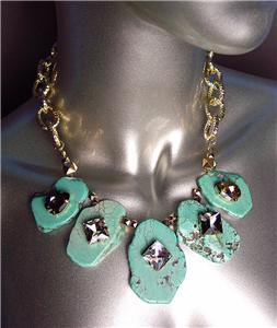 STUNNING Urban Anthropologie Chunky Turquoise Smoky Czech Crystals Necklace Set