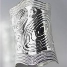 CHIC & UNIQUE Silver Swirl Texture Round Scalloped Ends Long Cuff Bracelet