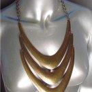 CHUNKY Antique Burnished Gold Metal Layered Drape STATEMENT Necklace Set