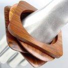 CHIC 4 PC Natural Carved Polished Brown Wood OVAL SQUARE Bangle Bracelet