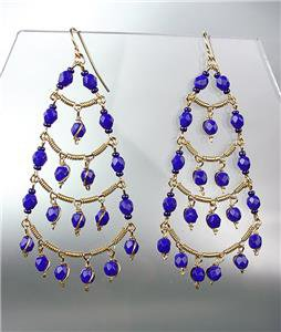 STUNNING Sapphire Blue Crystal Beads Chandelier Dangle Peruvian Earrings B94-8