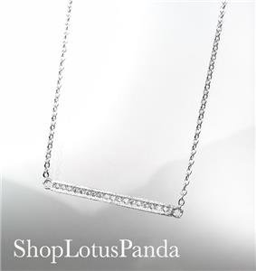 CHIC 18kt White Gold Plated CZ Crystals BAR Pendant Petite Dainty Necklace