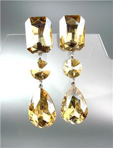 GLITZY Light Gold Brown Czech Crystals LONG Bridal Pageant Prom CLIP Earrings