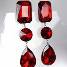 GLITZY Ruby Red Czech Crystals LONG Bridal Queen Pageant Prom CLIP Earrings
