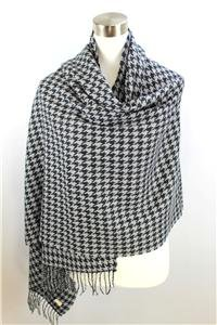 CLASSIC Warm Black Gray Houndstooth CASHMERE TOUCH 100% Acrylic Scarf Wrap Shawl