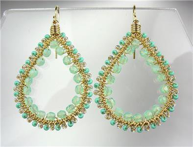 GORGEOUS Aventurine Crystals Peruvian Beads Gold Chandelier Dangle Earrings M100
