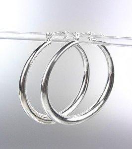 """NEW Silver Plated Metal 1"""" Diameter Hoop Earrings"""