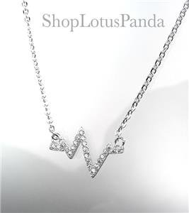 CHIC 18kt White Gold Plated CZ Crystals Heartbeat ZigZag Pendant Dainty Necklace