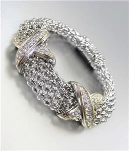 STUNNING X CZ Crystals Medallions Silver Metal Mesh Magnetic Bracelet
