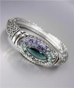 Designer Style Silver BALINESE Weave Cable Montana Blue CZ Crystals Bracelet