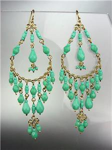 GORGEOUS Turquoise Crystals Peruvian Beads Gold Chandelier Dangle Earrings B9