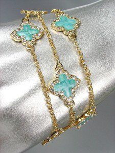 NEW 18kt Gold Plated Chains Blue Enamel Clover Clovers CZ Crystals Bracelet