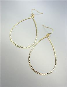 CHIC & STYLISH Ultra Thin Lightweight Gold Hammered Tear Drop Dangle Earrings