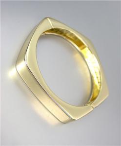 CHIC & UNIQUE Gold Metal Geometric Pentagon Hinged Bangle Bracelet