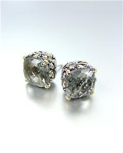 Designer PETITE Silver Gold Balinese Filigree Smoky Gray CZ Crystal Earrings